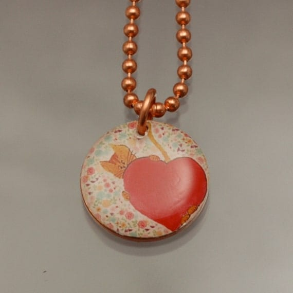 Handmade Copper Cat Charm Pendant Penny Art Necklace - Cat Heart - Womens Jewelry
