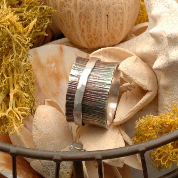 Handmade Silver Spinner Ring Sterling Rustic - Splendor - SRA Womens Jewelry Size 7 1/4