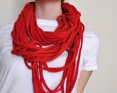 recycled scarf, red
