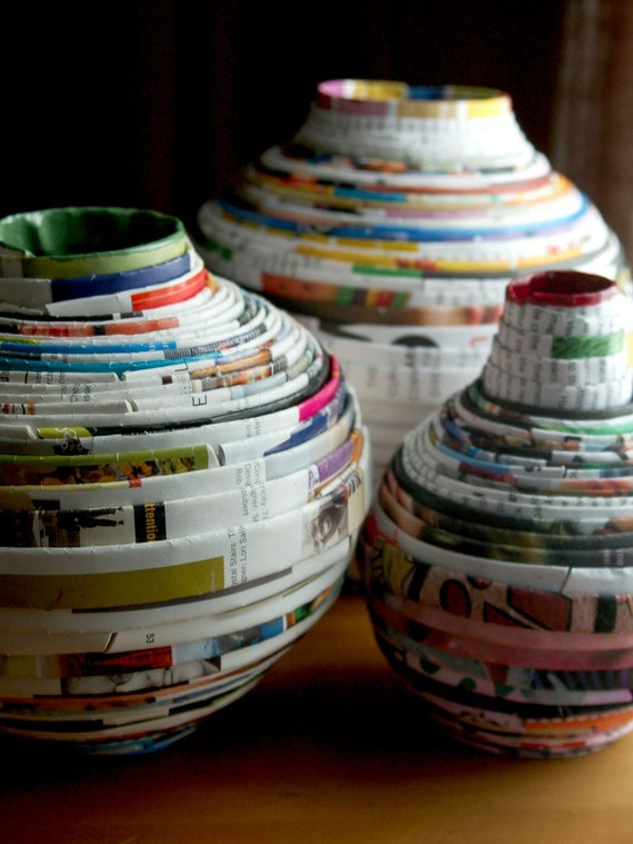 Handmade Recycled Paper Vase