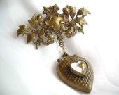 Vintage stamped brass Victoriana Valentine brooch free shipping