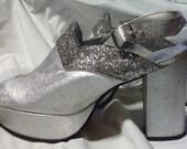 Vintage Platform Shoes Silver Sparkle Size 9
