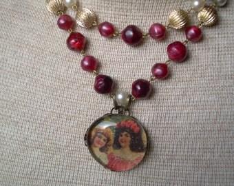 Victorian Girls Under Glass Pendant On Vintage Necklace