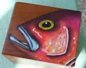 Painted Grouper Fish Wood Box w\/ Lid