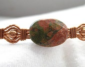 Unakite Oval Stone and Copper Beaded Copper Wire Wrapped Bracelet