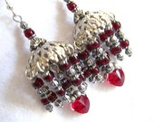 Red and Silver Beaded and Antique Silver OOAK Dangle Earrings