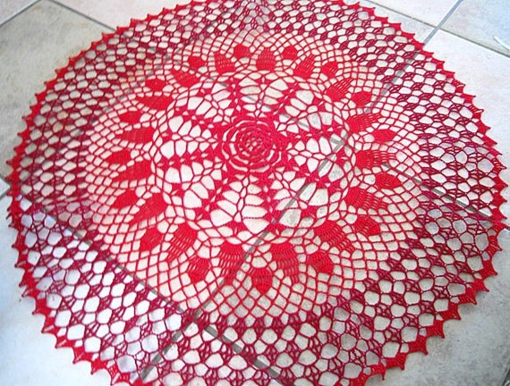 All Reds Crocheted Doily or Table Cloth 28