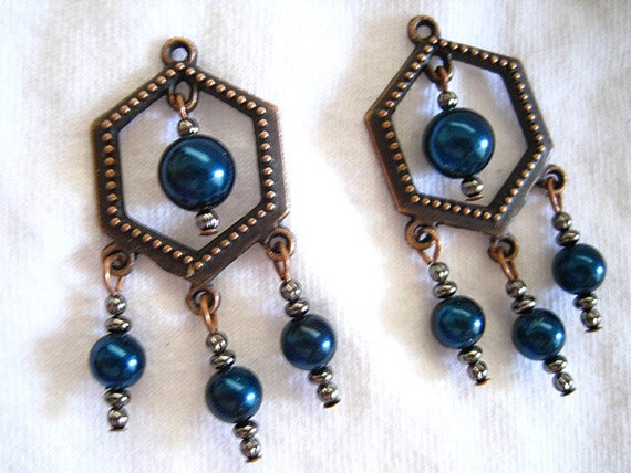 Dark Teal Blue Glass Pearls and Gunmetal Beads Copper Dangle Earrings