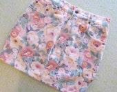 pastel floral denim skirt