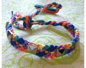 rainbow candy stripe studded friendship bracelet
