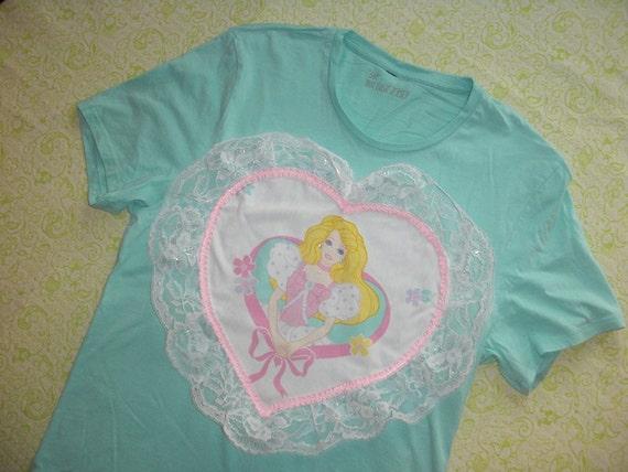 SALE aqua barbie heart shirt