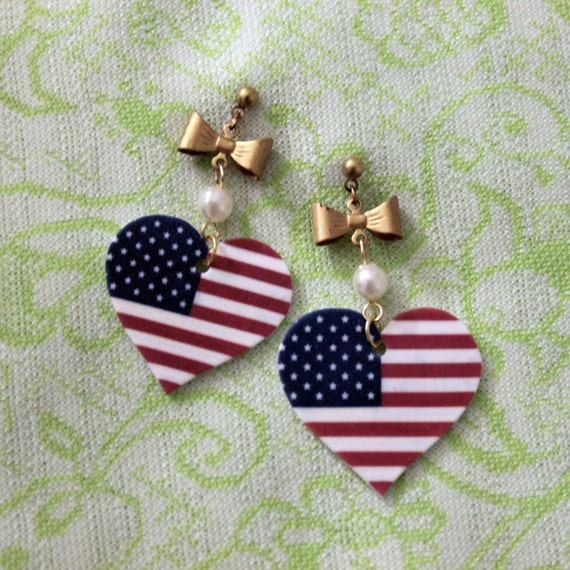 american flag heart gold bow and pearl earrings