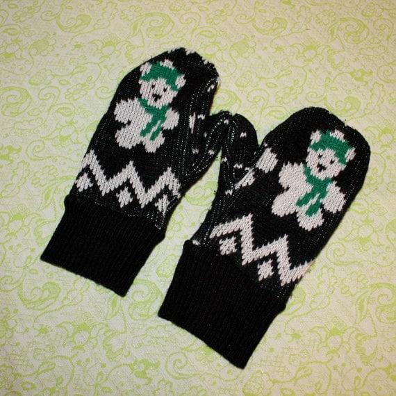 teddy bear sweater mittens