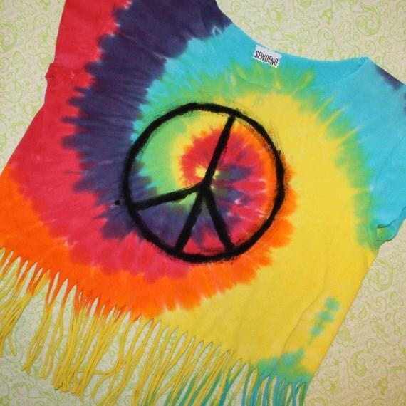 tye dye peace sign fringe crop top