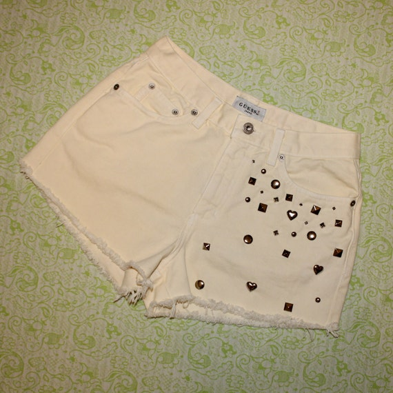 pale yellow studded vintage shorts