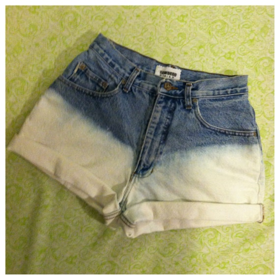 vintage light blue and white ombre dip dye shorts