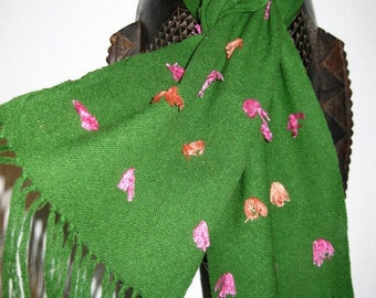 Handwoven Silk Scarf with Eyelashes