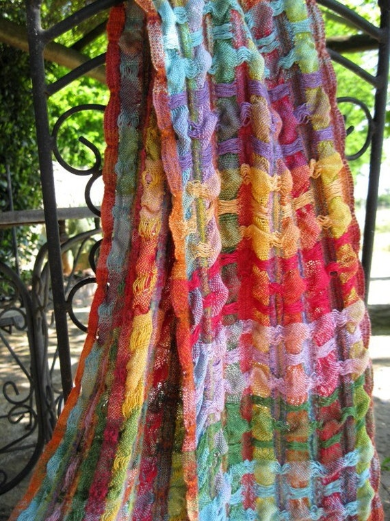 REDUCED  for a limited time only - Handwoven Hand Dyed Textured Silk and Merino/Alpaca Scarf