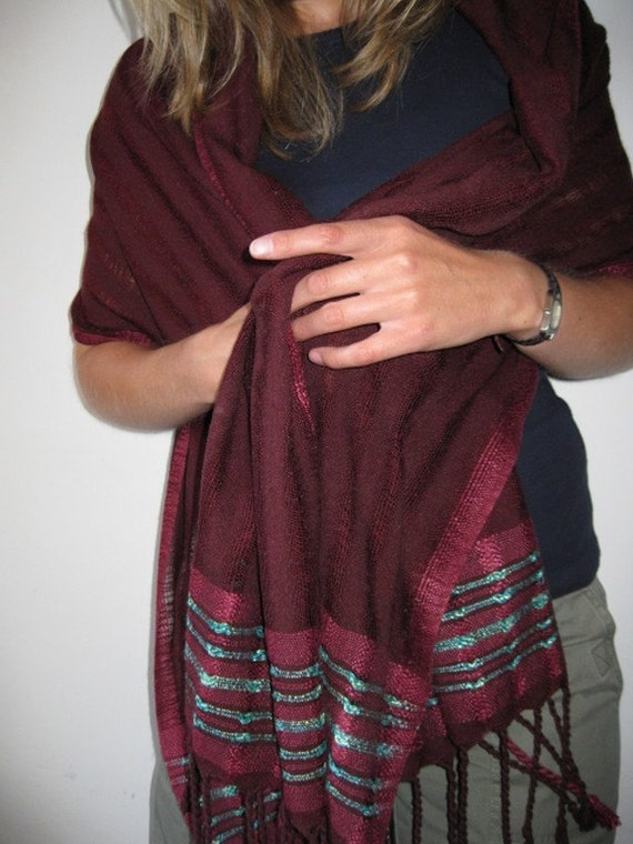 REDUCED - Handwoven Light weight Silk Shawl\/Wrap - Bordeaux and Turquoise