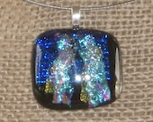 MOVING SALE  OOAK Cobalt Blue and Aqua Fused Dichroic Glass Necklace