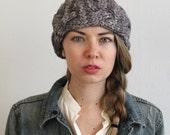 simcoe braided chunky headband of pure merino  wool (shown in variegated grey )