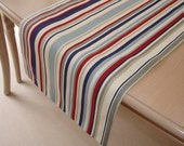 "Table Runner 48"" Cotton Maritime Table Runner Red White Blue Beige Grey Nautical Stripes 4ft x 1ft Striped Stripey Coffee Console Topper"