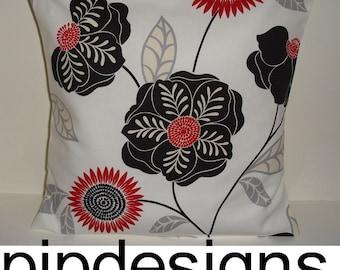 "16x16 Pillow Cover Black Red Ivory 16"" Cushion Case Slip Sham Pillowcase Retro Designer Cream Flowers 16""x16"" Funky Throw Pillow Sham"