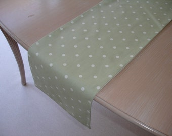 """Green Table Runner 60"""" Sage and White Polka Dots 5ft Spots Spotty Spot Spotted 150cm"""