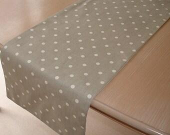 "Table Runner 84"" Grey with White Polka Dots 7ft Polkadot Dotty 210cm Spots"