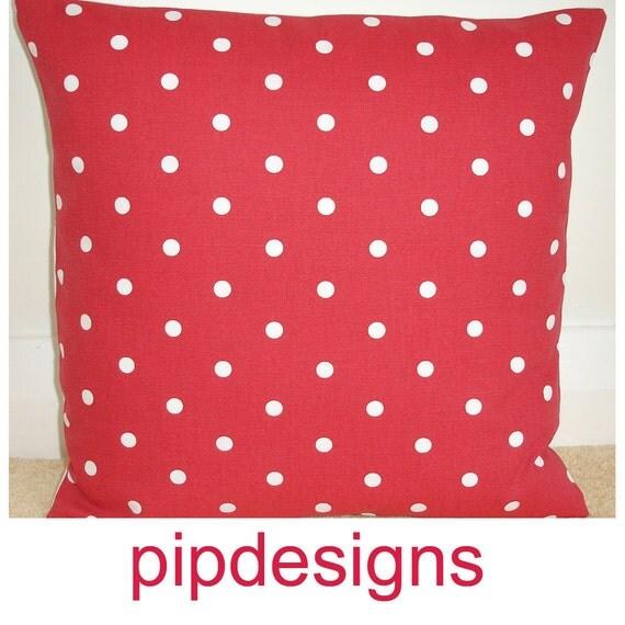 "Pillow Cover 16x16 NEW 16"" Red White Polka Dot Designer Cotton Pillow Cushion Cover Case Shams Slip Pillowcase Polkadot Dotty Dots Spots"