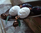 Addictions (Earrings, sterling silver, copper, vintage beads)