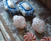 On The Porch (Earrings, sterling silver, vintage beads)
