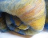 Spinning or Felting Fiber BATT - Rambouillet Wool, Milk and Angelina - 2 oz