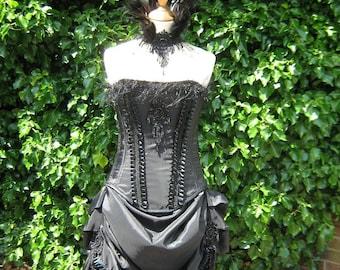 Black taffeta victorian style corset with eyelash beaded trim