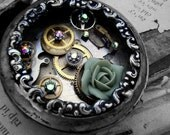 Timeless Beauty No.35 - Green Rose, Gunmetal Pocketwatch Necklace