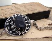 Pandora - Deity Collection - Jet Black Smooth Jewel Victorian Silver Bracelet
