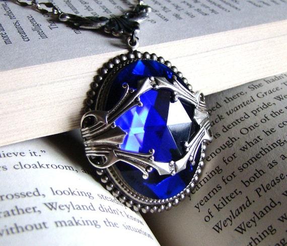 Cobalt - Large Faceted Blue Vintage Glass, Sterling Silver Plated Jewel Necklace