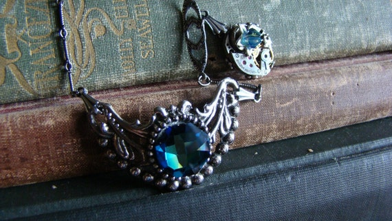 Bleu Pretty Industry - Crystal Jewel and Filigree Victorian Steampunk Necklace