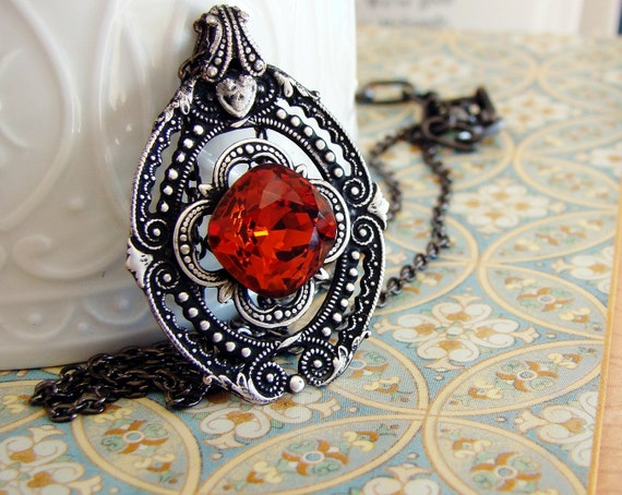 Lacy in Red - Crystal Swarovski Jewel and Filigree Victorian