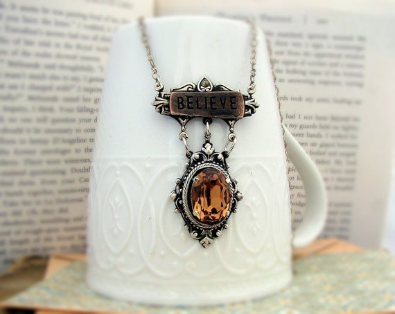 Believe -  Contraption Series  - Carmel Jewel, Art Nouveau Silver Necklace
