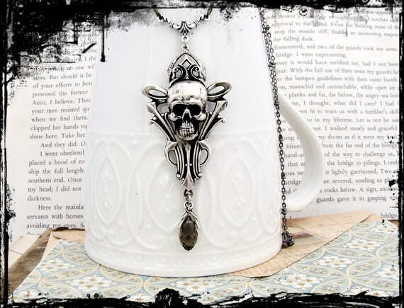 Ichor - Gray Crystal Jewel Art Deco Necklace