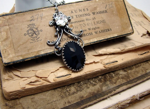 Siobhan - Elven Collection - Jet, Filigree and Jewel Neo-Victorian Gothic Necklace