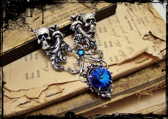 Dante's Inferno - Black and Blue, Silver Filigree and Jewel Neo-Victorian Gothic Necklace