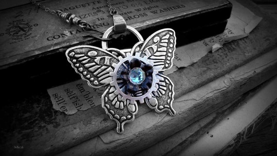 ClockWork Flutter - Silver, 3D Butterfly Necklace with a Jewel