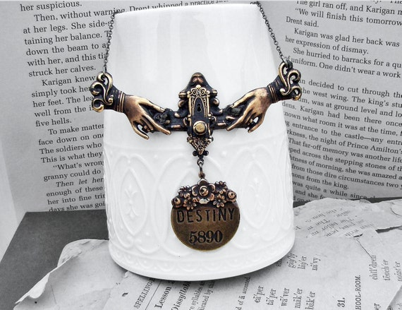 Open the Door to Your Destiny - Inspiration Series - NeoVictorian Silver Jeweled Necklace