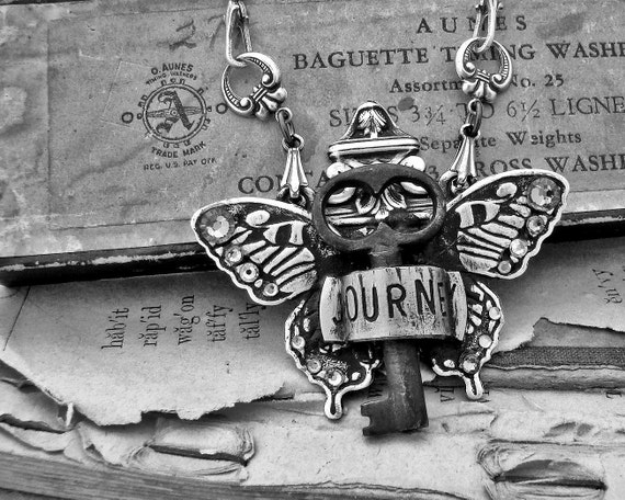 Journey  - Butterfly and Antique Skeleton Key Necklace