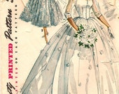 1954 Simplicity 4697 Bridal Gown and Bridesmaid Dress Pattern - Size 13