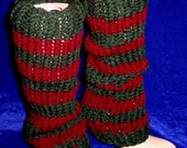 Hand Knitted Legwarmers with Stripes