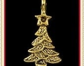4 gold christmas tree charms E-24