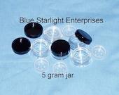 50 - 5 gram sifter jars for mineral makeup , storage - black lid - item 205